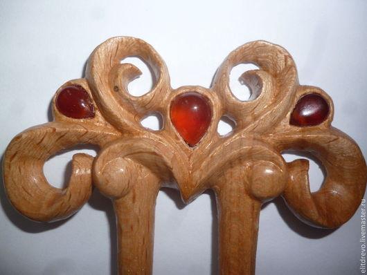 Заколки ручной работы. Ярмарка Мастеров - ручная работа. Купить шпилька деревянная Винтажная. Handmade. Бежевый, подарок на новый год