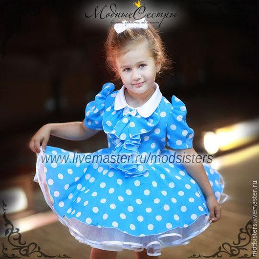 """Одежда для девочек, ручной работы. Ярмарка Мастеров - ручная работа. Купить Детское платье """"Голубое в белый горох"""" Арт.-097. Handmade."""