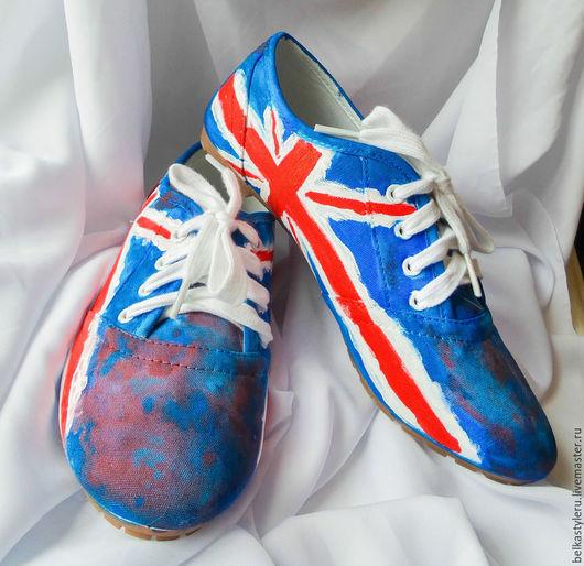 """Обувь ручной работы. Ярмарка Мастеров - ручная работа. Купить Кеды женские  """"Британский флаг""""., кеды с рисунком, роспись кед. Handmade."""