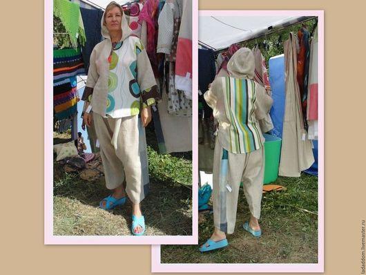 Одежда ручной работы. Ярмарка Мастеров - ручная работа. Купить Льняные штаны порты женские мужские. Handmade. Комбинированный