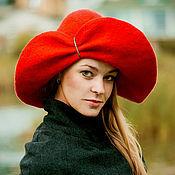 """Аксессуары ручной работы. Ярмарка Мастеров - ручная работа шляпка валяная """"Красный мак"""". Handmade."""