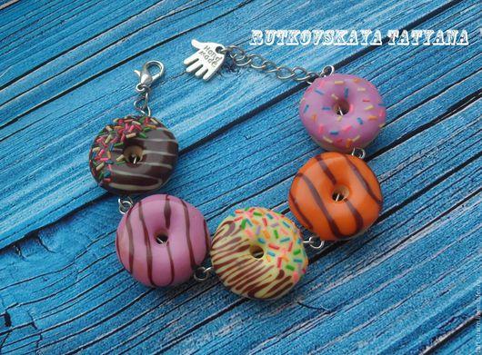 """Браслеты ручной работы. Ярмарка Мастеров - ручная работа. Купить браслет """"Веселые пончики"""". Handmade. Комбинированный, металлическая фурнитура"""