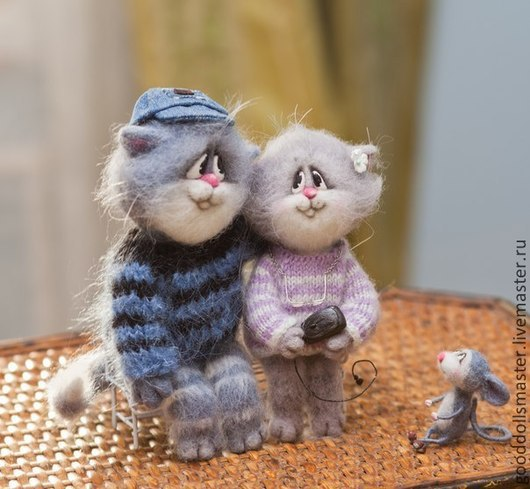 Игрушки животные, ручной работы. Ярмарка Мастеров - ручная работа. Купить Влюбленные котики.... Handmade. Серый, влюбленная пара, валяный
