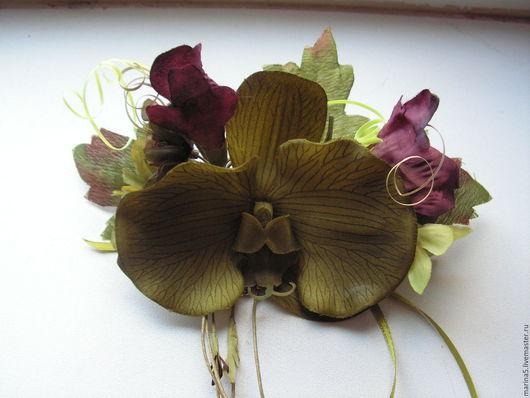 Заколки ручной работы. Ярмарка Мастеров - ручная работа. Купить Заколка для волос орхидея( зажим). Handmade. Хаки, украшение для волос
