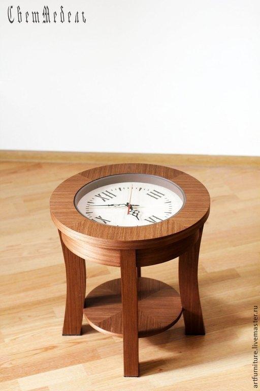 Мебель ручной работы. Ярмарка Мастеров - ручная работа. Купить Столик-часы журнальный столик с часами - кофейный стол для гостиной. Handmade.