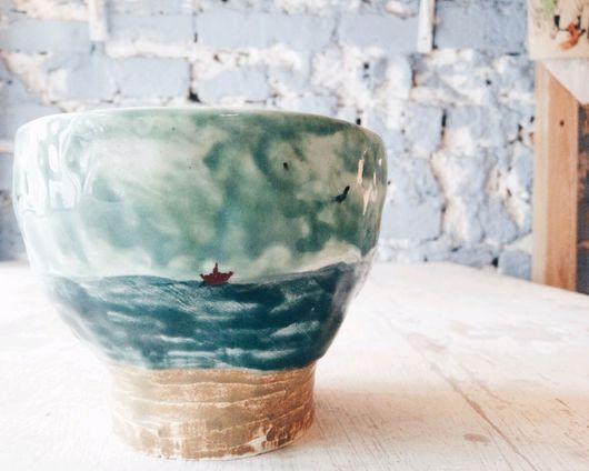 """Бокалы, стаканы ручной работы. Ярмарка Мастеров - ручная работа. Купить Стаканчики """"купание в дождь"""". Handmade. Морская волна, Керамика"""