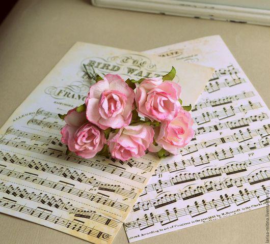 Куклы и игрушки ручной работы. Ярмарка Мастеров - ручная работа. Купить Букет Ц27-Т розы бело-розовые. Handmade.