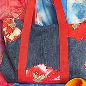 """Сумки и аксессуары ручной работы. Ярмарка Мастеров - ручная работа Джинсовая сумка """"Маковый деним"""". Handmade."""