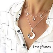Украшения handmade. Livemaster - original item Necklace double Night, month, stars, zircons, with pendants. Handmade.