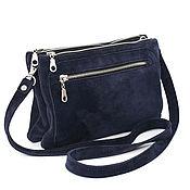 Сумки и аксессуары handmade. Livemaster - original item Blue suede Double handbag with crossbody strap. Handmade.