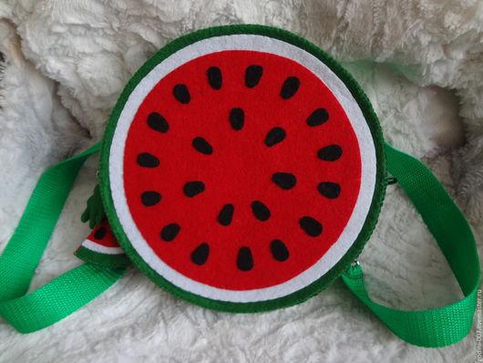 """Рюкзаки ручной работы. Ярмарка Мастеров - ручная работа. Купить Рюкзак-сумка из фетра """"Арбуз"""". Handmade. Ярко-красный, фетр"""