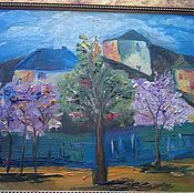 Картины и панно ручной работы. Ярмарка Мастеров - ручная работа деревенский пейзаж. Handmade.