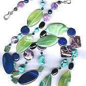 Украшения handmade. Livemaster - original item Beads 85 cm with natural stones charoite chrysoprase etc.. Handmade.