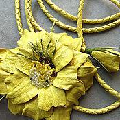 Аксессуары ручной работы. Ярмарка Мастеров - ручная работа Солнечный пояс с цветком - брошью. Handmade.