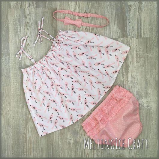 Одежда для девочек, ручной работы. Ярмарка Мастеров - ручная работа. Купить Комплект для девочки: туника на бретельках и блумеры. Handmade.