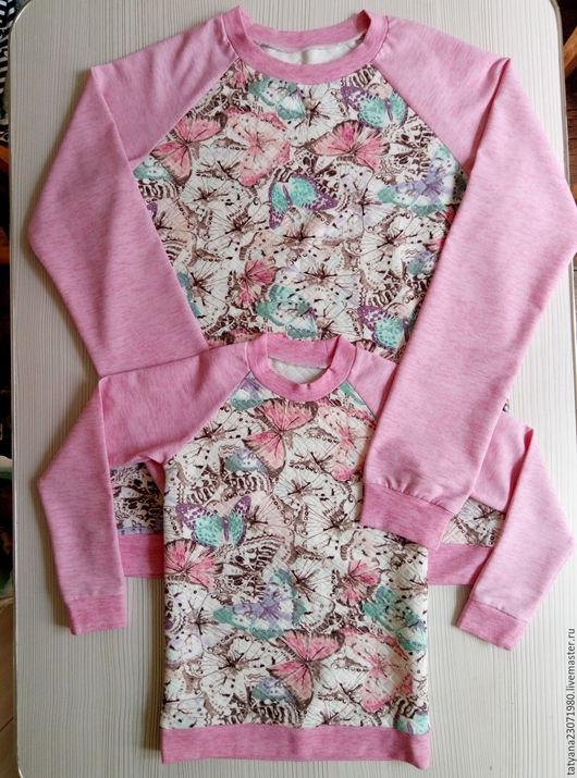 Одежда для девочек, ручной работы. Ярмарка Мастеров - ручная работа. Купить комплект для мамы и дочки. Handmade. Розовый, рисунок, бабочка