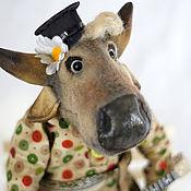 Сувениры и подарки handmade. Livemaster - original item Symbol of the year 2021 . Bull and balalaika. Handmade.