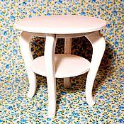 Куклы и игрушки ручной работы. Ярмарка Мастеров - ручная работа Стол для куклы крашеный белый круглый (2). Handmade.