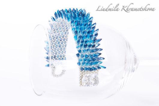 """Браслеты ручной работы. Ярмарка Мастеров - ручная работа. Купить Браслет """"Застывшая вода""""( браслет ледяной, синий, темно-голубой). Handmade."""