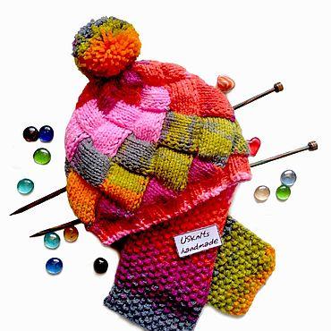 Товары для малышей ручной работы. Ярмарка Мастеров - ручная работа Яркая вязаная детская шапка Квадраты с помпоном. Handmade.