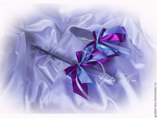 """Свадебные аксессуары ручной работы. Ярмарка Мастеров - ручная работа. Купить Нож и лопатка для торта """"Голубые орхидеи"""". Handmade. Фиолетовый"""