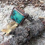 Украшения ручной работы. Ярмарка Мастеров - ручная работа Бирюзовый КВАДРАТ  кольцо медное с натуральной  бирюзой. Handmade.