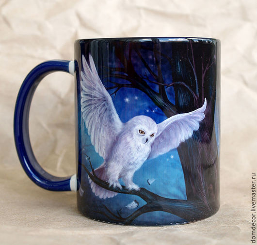 """Кружки и чашки ручной работы. Ярмарка Мастеров - ручная работа. Купить Чашка """"Мистическая сова"""". Handmade. Тёмно-синий, синий"""