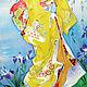 """Заказать Картина на шелке """"Задумчивая Японка"""". Светлана Логинова. Ярмарка Мастеров. . Картины Фото №3"""