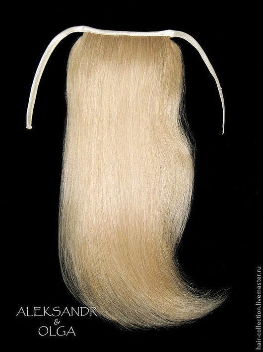 Накладной ХВОСТ на заколке - постиж - 37,5 см. Золотистый блонд.