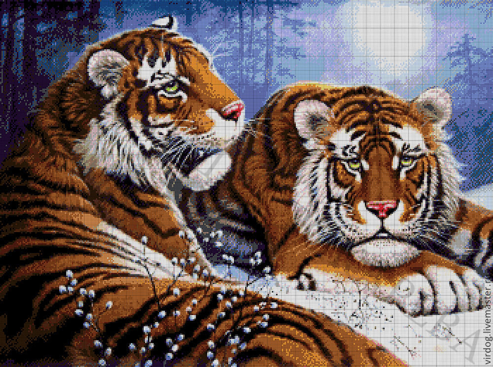 Вышивка тигры в лесу