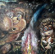 """Картины и панно ручной работы. Ярмарка Мастеров - ручная работа Картина """" Ёжик и медвежонок"""". Handmade."""