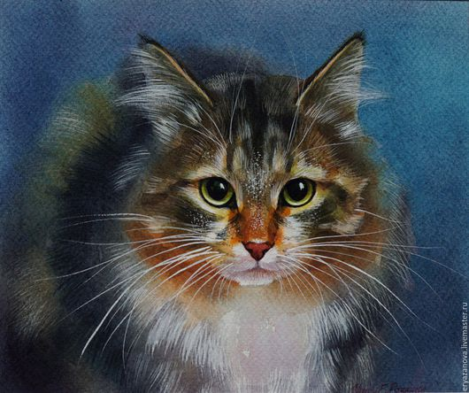 Животные ручной работы. Ярмарка Мастеров - ручная работа. Купить Картина акварелью Портрет серой кошки. Handmade. Комбинированный