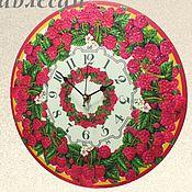 """Для дома и интерьера ручной работы. Ярмарка Мастеров - ручная работа Часы настенные """"Малинка"""" круглые в кухню, столовую. Handmade."""
