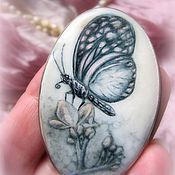 Украшения handmade. Livemaster - original item Brooch pendant with painted mother-of-pearl