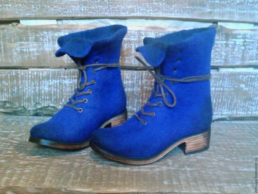 Обувь ручной работы. Ярмарка Мастеров - ручная работа. Купить Валяные ботинки Marcella ультрамарин. Handmade. Тёмно-синий
