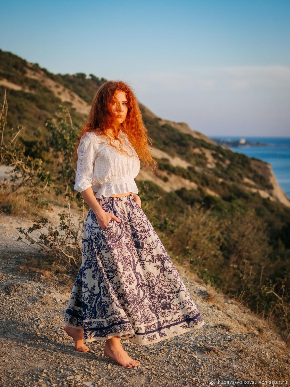 Boho long linen skirt with lace, Skirts, Anapa,  Фото №1