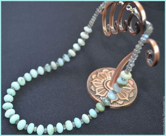 """Колье, бусы ручной работы. Ярмарка Мастеров - ручная работа. Купить Ожерелье """"Карибское море"""" из перуанских опалов и лабрадоритов. Handmade."""