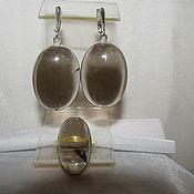 Украшения ручной работы. Ярмарка Мастеров - ручная работа Комплект раухтопаз с  подвеской в серебре. Handmade.