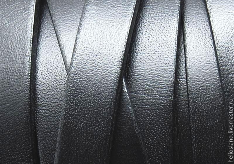 Кожаный шнур плоский 10 мм черный, Шнуры, Москва,  Фото №1