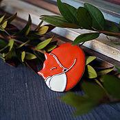 Украшения ручной работы. Ярмарка Мастеров - ручная работа Брошь Спящая лиса малая. Handmade.