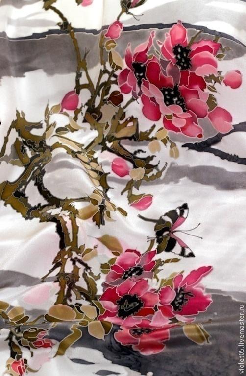 Шали, палантины ручной работы. Ярмарка Мастеров - ручная работа. Купить Сакура Восточные мотивы батик шарф ручная роспись. Handmade.