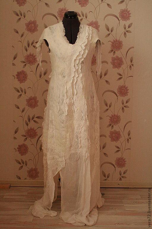 """Платья ручной работы. Ярмарка Мастеров - ручная работа. Купить Платье """"Нежность"""". Handmade. Белый, платье вечернее, волокна шёлка"""