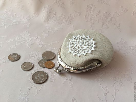 Кошельки и визитницы ручной работы. Ярмарка Мастеров - ручная работа. Купить Кошелек для монет Лен и кружево. Handmade. Однотонный