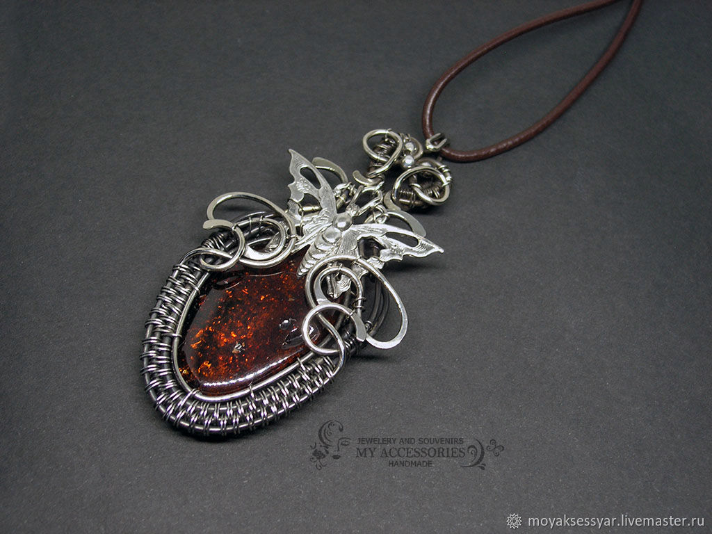 made of silver with natural amber Butterfly, Pendant, Moscow,  Фото №1