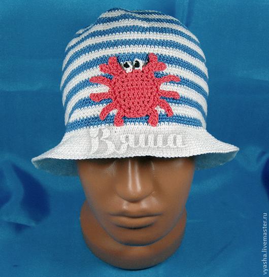 """Шапки и шарфы ручной работы. Ярмарка Мастеров - ручная работа. Купить Панамка вязаная """"Крабик"""" для мальчиков, летняя, морская. Handmade."""