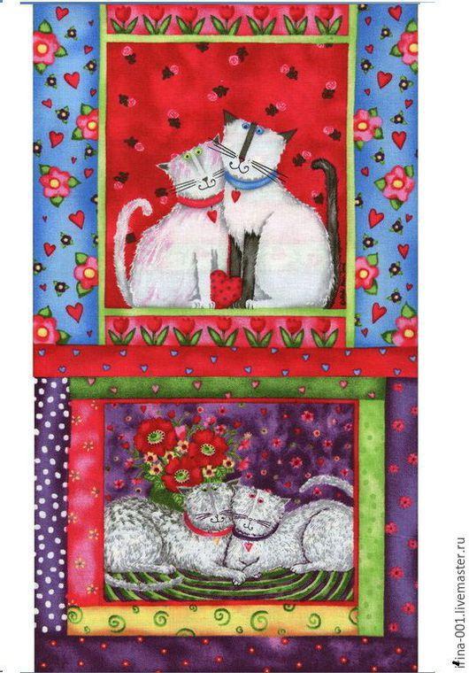 Шитье ручной работы. Ярмарка Мастеров - ручная работа. Купить Хлопок панель США 60х110 см Крейзи коты и кошки. Handmade.