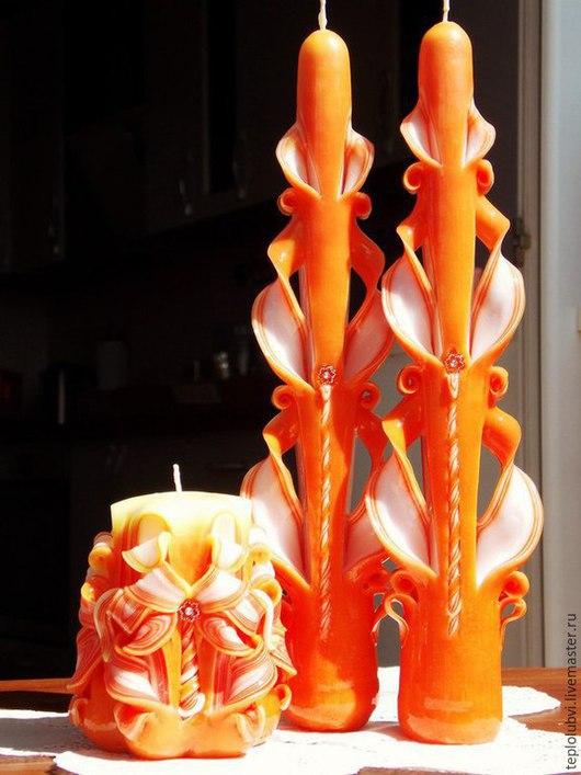 Свадебные аксессуары ручной работы. Ярмарка Мастеров - ручная работа. Купить Свадебные свечи резные в оранжевом цвете Сочный апельсин. Handmade.