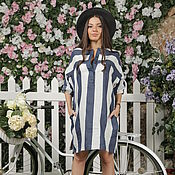 Одежда handmade. Livemaster - original item Tunic -shirt, made of Italian flax stripe.. Handmade.