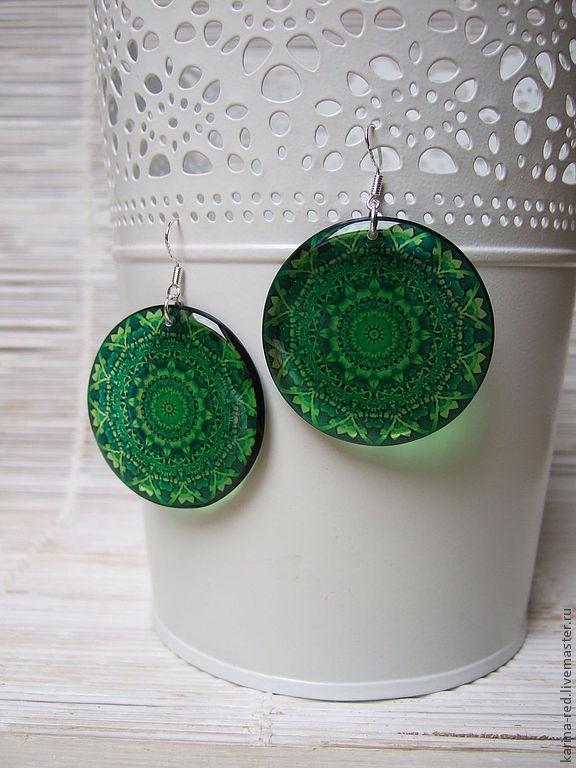 Transparent Resin Earrings emerald Green Pattern India Meditation, Earrings, Taganrog,  Фото №1