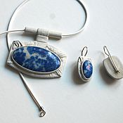 Украшения handmade. Livemaster - original item set pendant-earrings with lapis lazuli. Handmade.